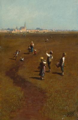 Karl Spitzweg. Kite. Fragment