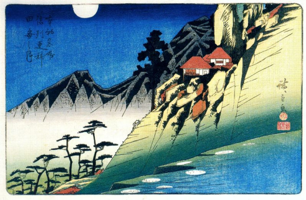 Utagawa Hiroshige. Moonlight reflecting in the rice fields Saraceno in the province of Shinano