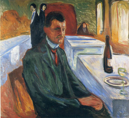 Edvard Munch. Self-portrait with bottle of wine