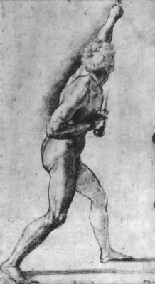 "Raphael Santi. Nude with a sword. Study for the paintings of the Hall of Constantine, the fresco ""Battle of Constantine"""