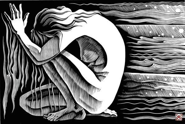 "Vladimir Kataev. ""Situation 4"", 43 x 63, linocut, 2011"