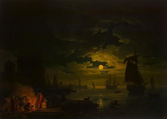 Клод Жозеф Верне. Вход в Палермский порт при лунном свете