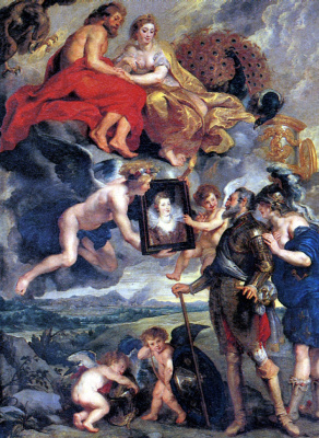 Peter Paul Rubens. Henry IV receives the portrait of Marie de Medici