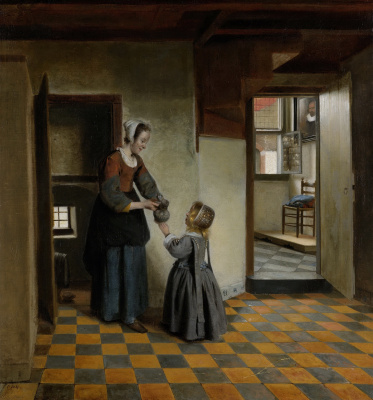 Pieter de Hooch. A woman with a child in a pantry