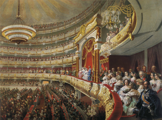 Mikhail Alexandrovich Zichy. Performance in the Moscow Bolshoi Theater on the occasion of the coronation of Alexander II