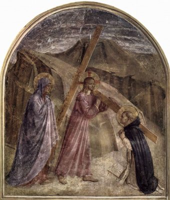 Fra Beato Angelico. Carrying the cross. Fresco of the Monastery of San Marco, Florence