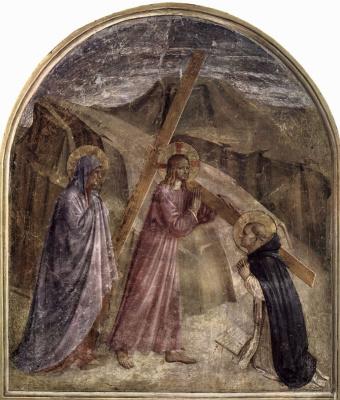 Фра Беато Анджелико. Несение креста. Фреска монастыря Сан Марко, Флоренция