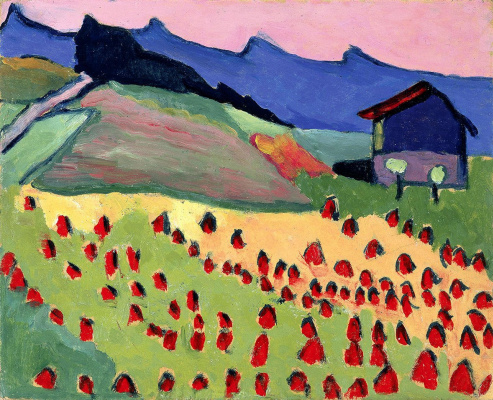 Gabriele Münter. Landscape with house at sunset