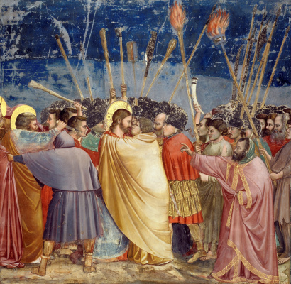 Giotto di Bondone. Taking Christ in custody (The Kiss of Judah). Scenes from the life of Christ