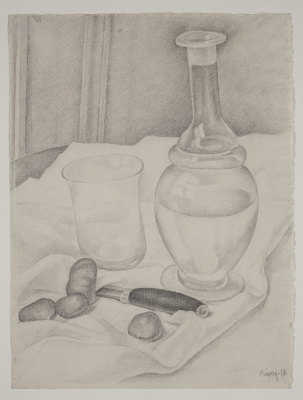 Diego Maria Rivera. Still Life with Decanter, Knife and Chestnuts