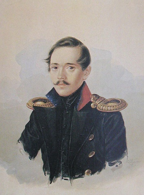Portrait of M. Y. Lermontov in hussar coat