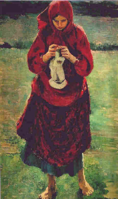 Philip Andreevich Malyavin. Peasant girl knitting a stocking
