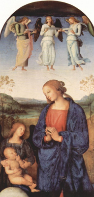 Pietro Perugino. Altar triptych of the Certosa of Pavia, the Central part, scene: Mary worshipping the infant, with the Archangel Gabriel and the three musicyou