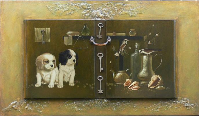 Alexander Melnikov. Still life with puppies. 2010
