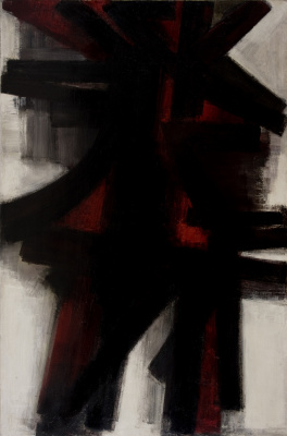 Pierre Soulaj. Black and red on light