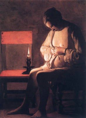Georges de La Tour. The woman in front of candles