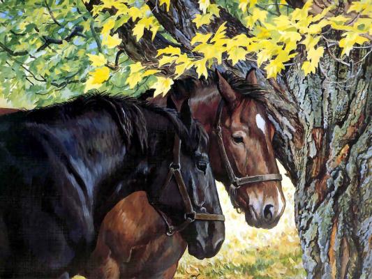 Пэрис Клейтон Вейрс. Лошади возле дерева