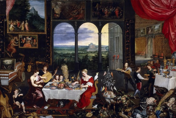 Jan Bruegel The Elder. Taste, hearing and touch