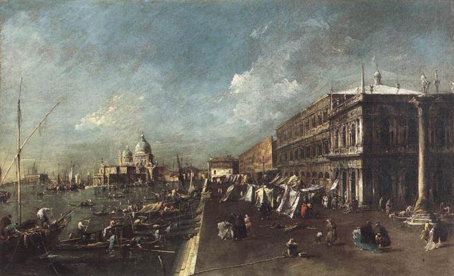 Francesco Guardi. View of the Mole from the bookstore in Venice
