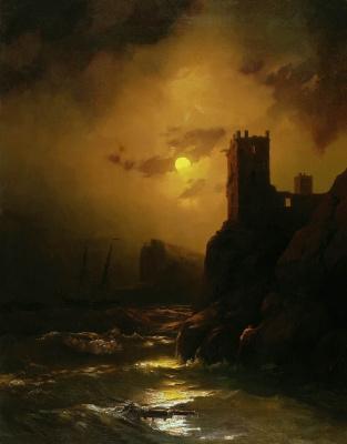 Ivan Aivazovsky. Tower. Shipwreck