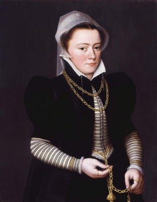 Portrait of an unknown with pomanders on gold chain