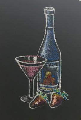 Larissa Lukaneva. A glass of wine. Sketch.