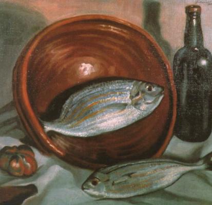 Сальвадор Дали. Натюрморт с рыбой и красным вином