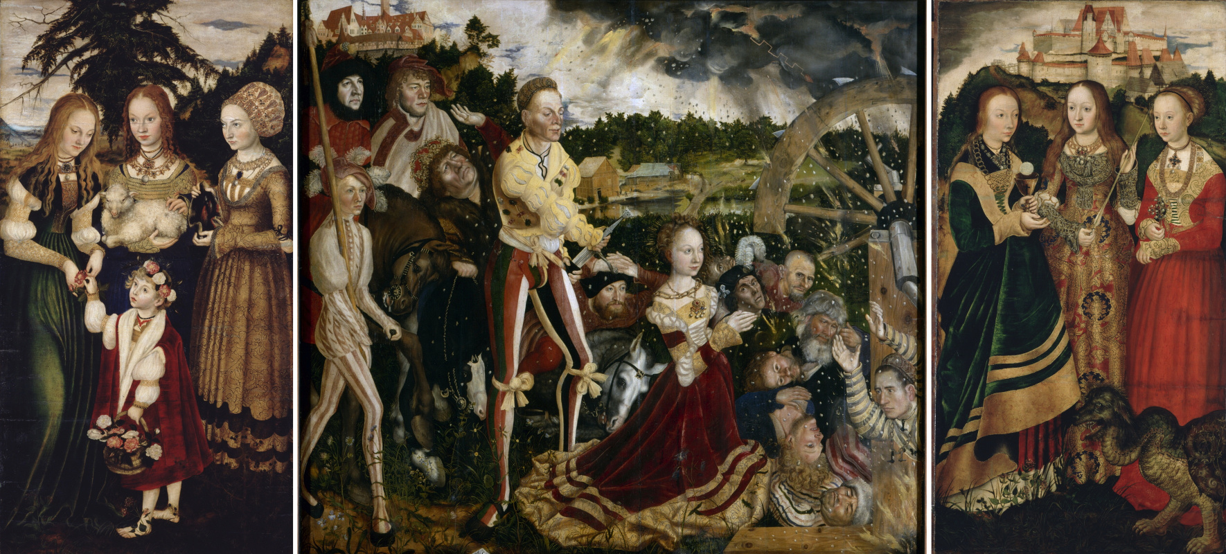 Лукас Кранах Старший. Алтарь Святой Екатерины. Центральная часть: Мученичество Святой Екатерины; левая часть: Святые Доротея, Агнесса и Кунигунда; правая часть: Святые Варвара, Урсула и Маргарита