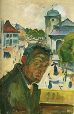Edward Munch. Self-portrait in Bergen