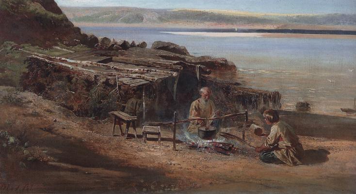 Alexey The Kondratyevich Savrasov. Fishermen on the Volga