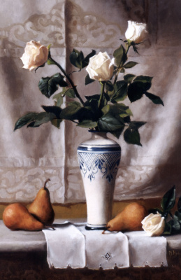 Морин Хайд. Натюрморт с белыми розами