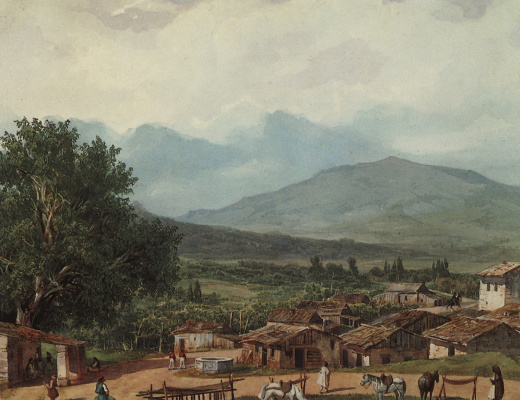 """Karl Pavlovich Bryullov. The village of St. Rocca, near the town of Corfu. From illustrations for """"Atlas to travel notes"""" gr. V. P. Davydov, 1835, published in 1840"""