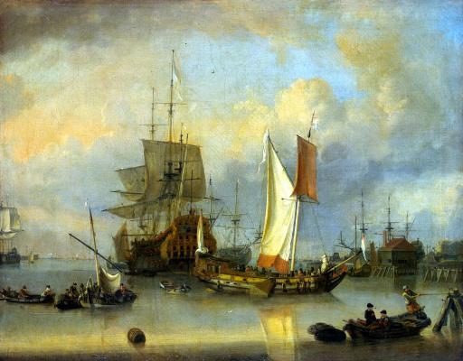 Ян Клас Ритсхоф. Корабли в море в тихую погоду