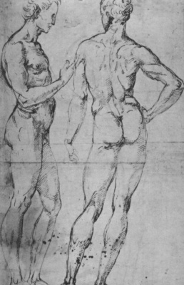 Raphael Sanzio. Two male Nude figures, one in profile, another from the back