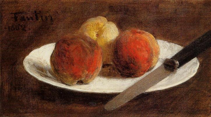 Henri Fantin-Latour. Plate with peaches