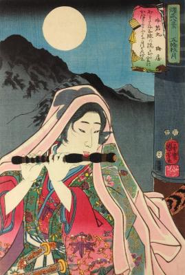 """Утагава Куниёси. Полная луна над мостом Годзё: Усивакамару. Серия """"Восемь портретов блестящих военных"""""""