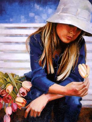 Анна Лемье. Молодая девушка с тюльпанами