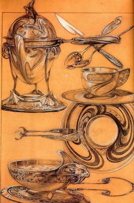 Alphonse Mucha. Cutlery. Etude