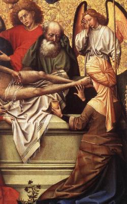 Робер Кампен. Триптих: погребение Христа. Фрагмент: плачущий Ангел у гробницы Христа