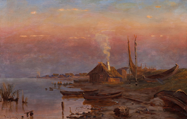 Julius Klever. Sunrise on the lake
