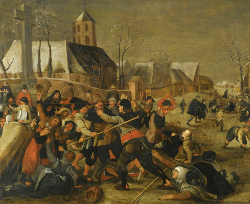 Martin van Cleve. Winter landscape with a peasant quarrel near the church