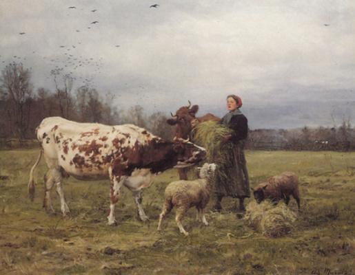 Адольф Чарльз Марэ. Зимнее время с коровами и овцами