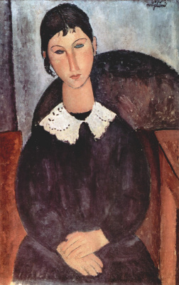 Amedeo Modigliani. Elvira. Portrait of a girl with white collar
