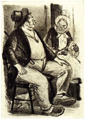"Konstantin Ivanovich Rudakov. Illustration to the novel of Maupassant ""Boatel"""