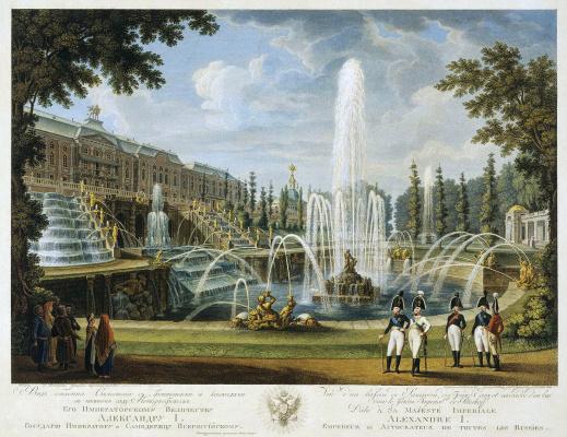 Фонтана Самсона и Большой дворец в Петергофе