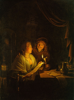 Gerrit (Gerard) Dow. A couple reading by candlelight