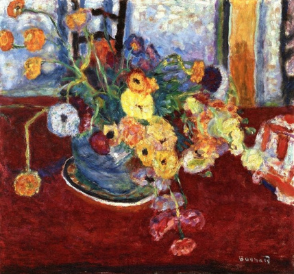 Pierre Bonnard. Flowers on a red tablecloth