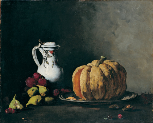 Theodul-Augustin The RIBO. Still life with jug, pumpkin, plums, cherries and figs