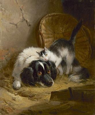 Генриетта Роннер-Книп. Спаниель и кот