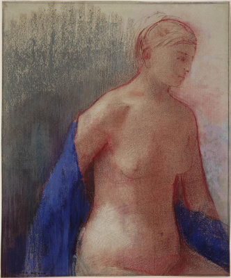 Odilon Redon. Nude with a blue scarf